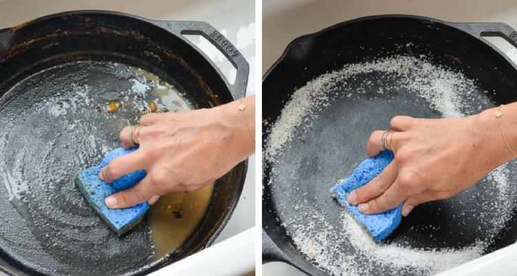 limpar panelas com sal