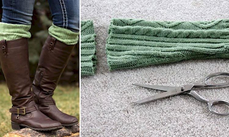 transformar suéter em meias