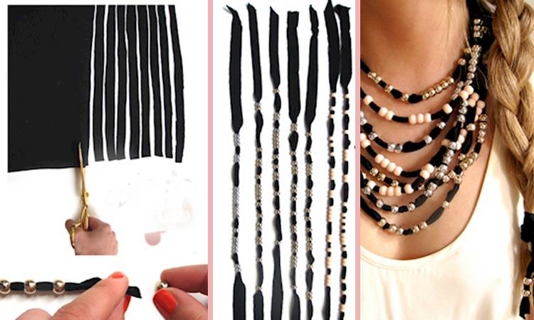 como fazer colares de tecido