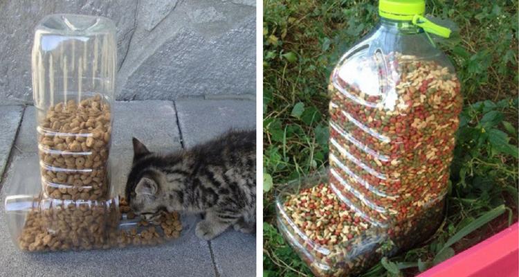 Distribuidor de alimentos feito com garrafas de plástico