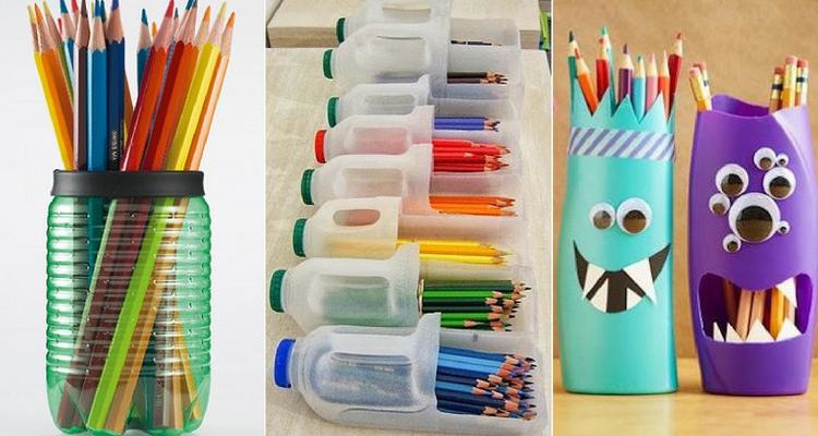 Porta canetas feito com garrafas de plástico