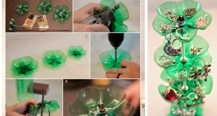 Porta jóias feito com garrafa pet