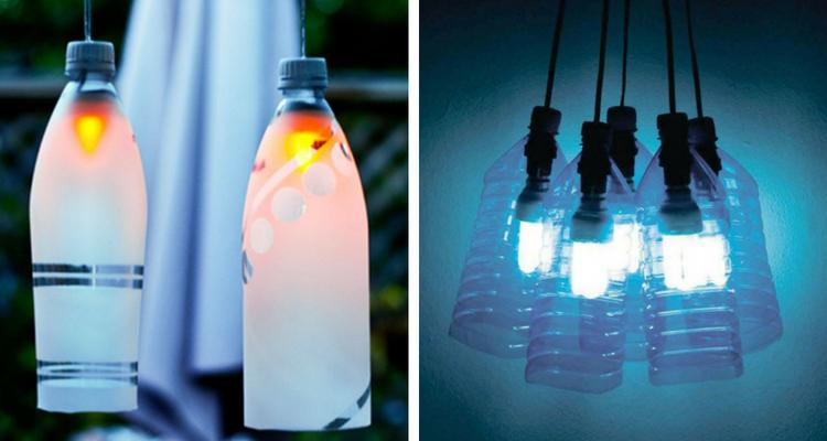 Luminárias feitas com garrafas de plástico