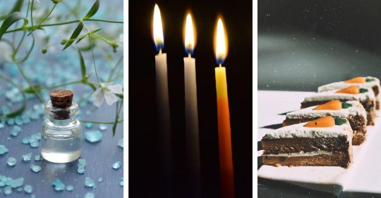 água de flor de laranjeira, velas e bolo