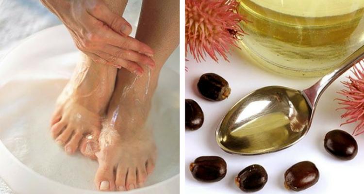 óleo de rícino nos pés