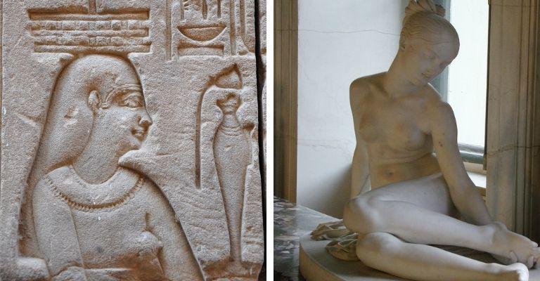 hieróglifo e escultura grega antiga